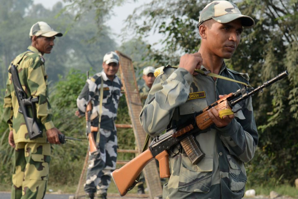 "Indian Border Security Force (BSF) personnel stand guard at the India-Pakistan Wagah Border, about 35 km from Amritsar on September 29, 2016, after the Punjab state government issued a warning to villagers to evacuate from a 10 km radius from the India-Pakistan border. Indian commandos carried out a series of lightning strikes September 29 along the de facto border with Pakistan in Kashmir, provoking furious charges of ""naked aggression"" from its nuclear-armed neighbour. / AFP PHOTO / NARINDER NANUNARINDER NANU/AFP/Getty Images"