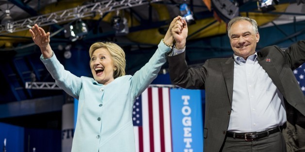 MIAMI, FL - Democratic Presumptive Nominee for President former Secretary of State Hillary Clinton and her vice-presidential choice Senator Tim Kaine (D-VA) during a rally in Miami, Florida on Saturday, July 23, 2016. (Photo by Melina Mara/The Washington Post via Getty Images)